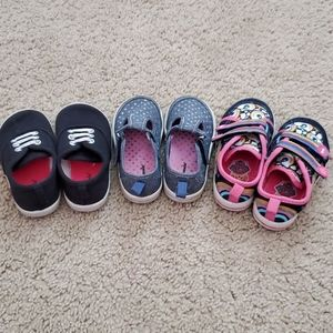 3 pairs of toddler girl shoes